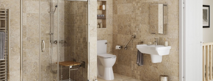 Modern bathroom with level access shower and shower seat