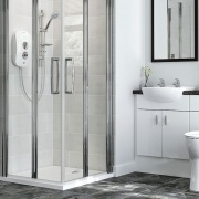 Top bathroom cleaning tips for modern bathroom depicting a shower with a low level shower tray.